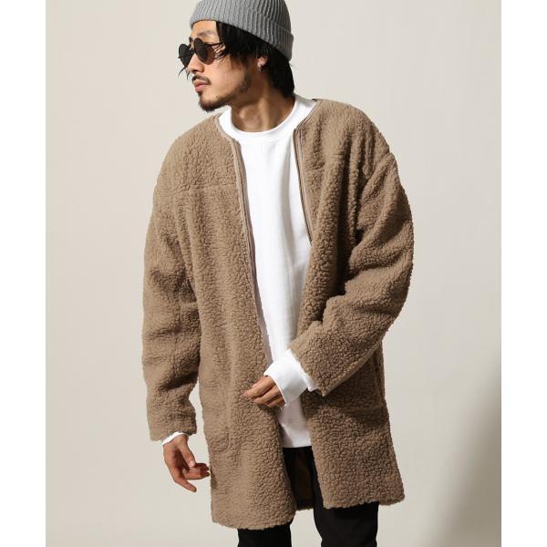 コート メンズ ボア ボアコート ロングコート ロング丈 無地 ノーカラー ブルゾン ファッション (161948br)|zip|18