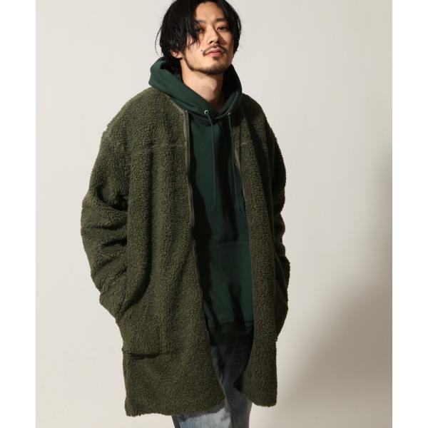 コート メンズ ボア ボアコート ロングコート ロング丈 無地 ノーカラー ブルゾン ファッション (161948br)|zip|19