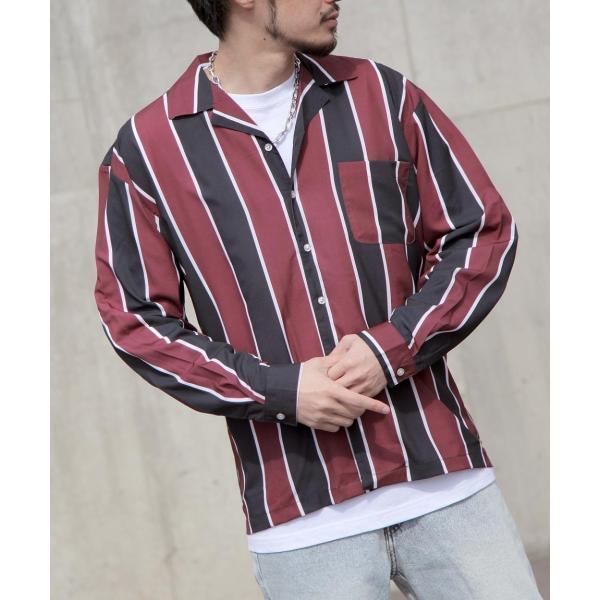 シャツ メンズ オープンカラーシャツ 開襟シャツ カジュアルシャツ 長袖 無地 ストライプ チェック 総柄 ファッション ポイント消化 (17110) D 2bh|zip|20