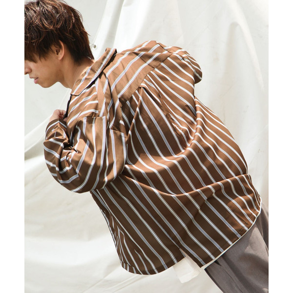 シャツ メンズ オープンカラーシャツ 開襟シャツ カジュアルシャツ 長袖 無地 ストライプ チェック 総柄 ファッション ポイント消化 (17110) D 2bh|zip|32