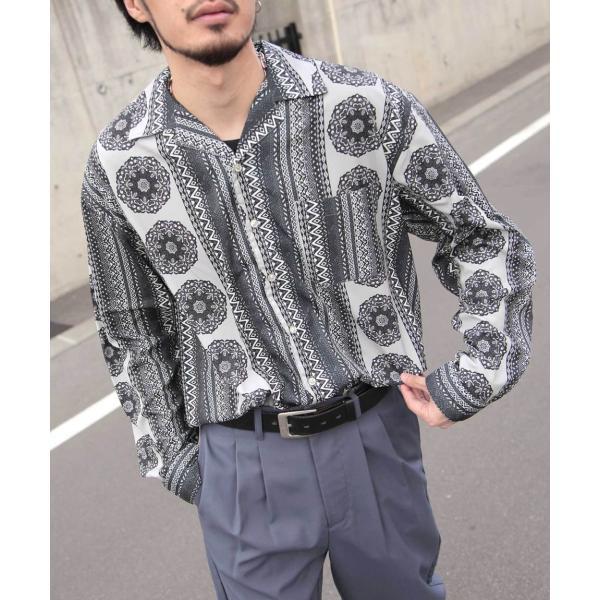 シャツ メンズ オープンカラーシャツ 開襟シャツ カジュアルシャツ 長袖 無地 ストライプ チェック 総柄 ファッション ポイント消化 (17110) D 2bh|zip|37
