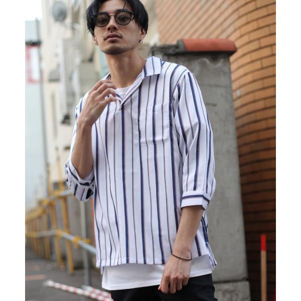 シャツ メンズ カジュアルシャツ スキッパーシャツ オープンカラー 開襟シャツ 七分袖 半端丈 無地 ストライプ ファッション ポイント消化 (171902bz) D|zip|21