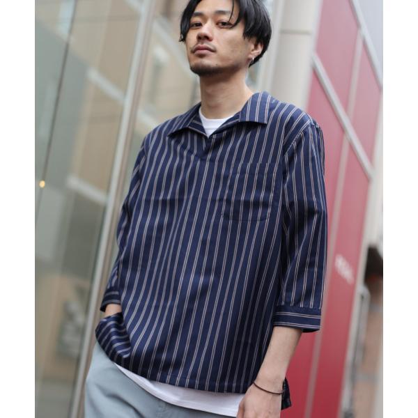 シャツ メンズ カジュアルシャツ スキッパーシャツ オープンカラー 開襟シャツ 七分袖 半端丈 無地 ストライプ ファッション ポイント消化 (171902bz) D|zip|22
