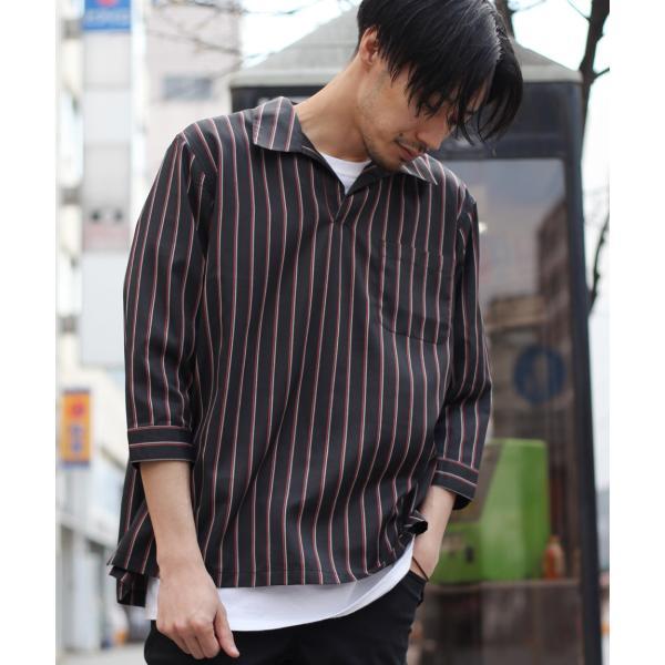 シャツ メンズ カジュアルシャツ スキッパーシャツ オープンカラー 開襟シャツ 七分袖 半端丈 無地 ストライプ ファッション ポイント消化 (171902bz) D|zip|23