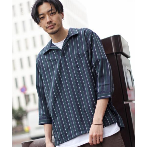 シャツ メンズ カジュアルシャツ スキッパーシャツ オープンカラー 開襟シャツ 七分袖 半端丈 無地 ストライプ ファッション ポイント消化 (171902bz) D|zip|24
