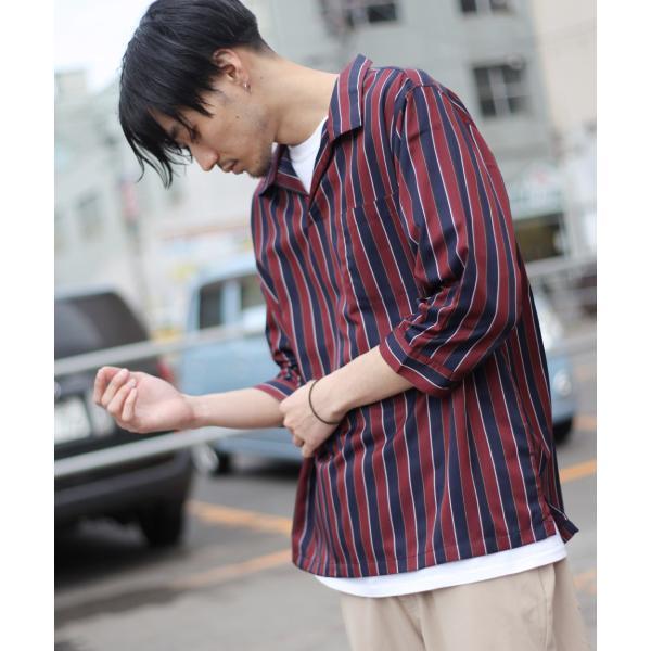 シャツ メンズ カジュアルシャツ スキッパーシャツ オープンカラー 開襟シャツ 七分袖 半端丈 無地 ストライプ ファッション ポイント消化 (171902bz) D|zip|25