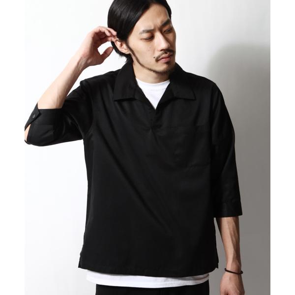 シャツ メンズ カジュアルシャツ スキッパーシャツ オープンカラー 開襟シャツ 七分袖 半端丈 無地 ストライプ ファッション ポイント消化 (171902bz) D|zip|28