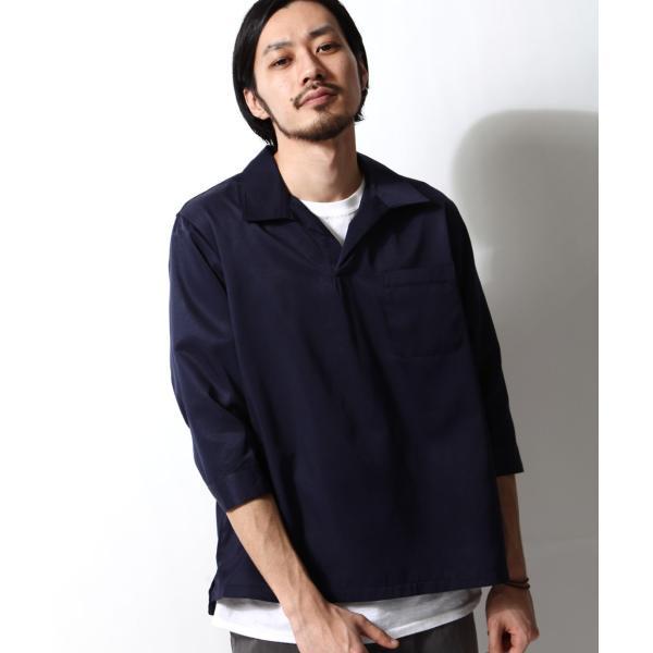 シャツ メンズ カジュアルシャツ スキッパーシャツ オープンカラー 開襟シャツ 七分袖 半端丈 無地 ストライプ ファッション ポイント消化 (171902bz) D|zip|29