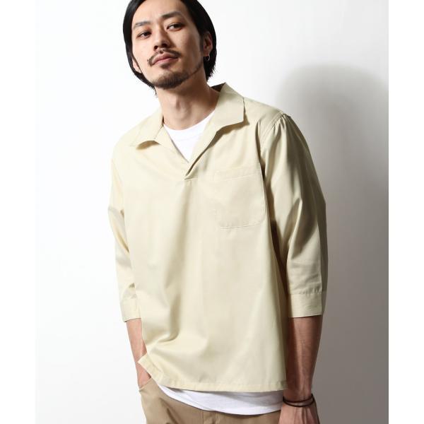 シャツ メンズ カジュアルシャツ スキッパーシャツ オープンカラー 開襟シャツ 七分袖 半端丈 無地 ストライプ ファッション ポイント消化 (171902bz) D|zip|30