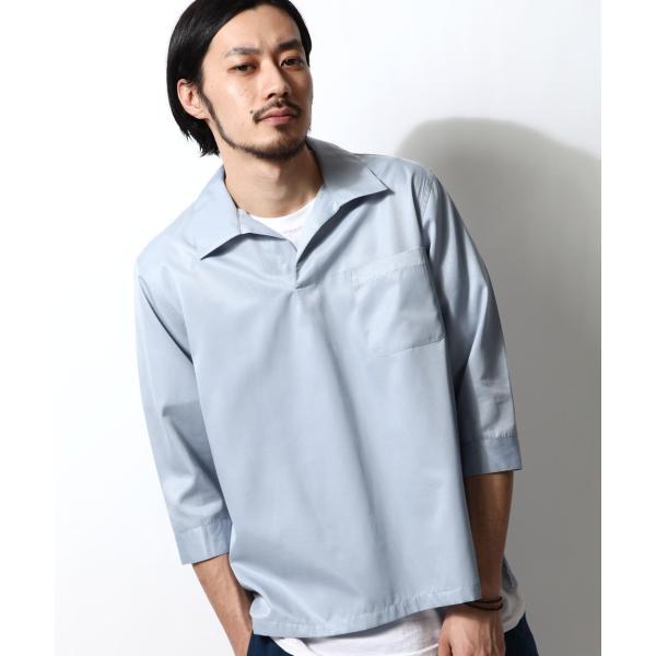 シャツ メンズ カジュアルシャツ スキッパーシャツ オープンカラー 開襟シャツ 七分袖 半端丈 無地 ストライプ ファッション ポイント消化 (171902bz) D|zip|31