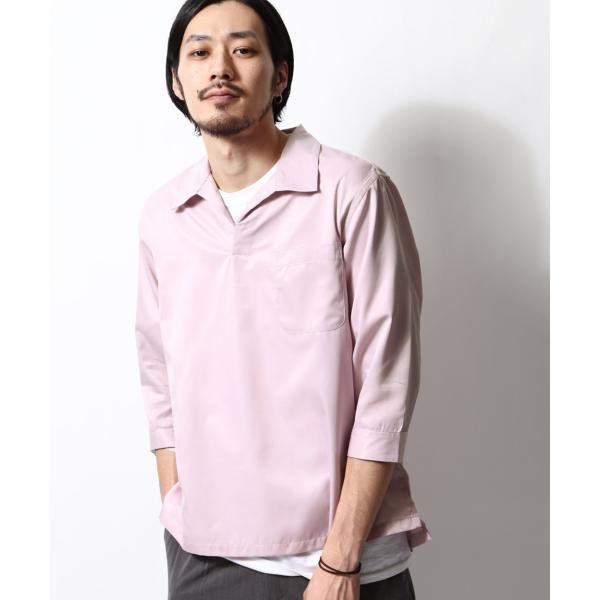 シャツ メンズ カジュアルシャツ スキッパーシャツ オープンカラー 開襟シャツ 七分袖 半端丈 無地 ストライプ ファッション ポイント消化 (171902bz) D|zip|32