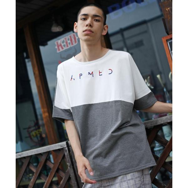 Tシャツ メンズ カットソー 長袖 切替 ロゴ刺繍 ロゴ ビッグシルエット オーバーサイズ 鹿の子 ワンポイント ファッション ポイント消化 (171928bz)|zip|16