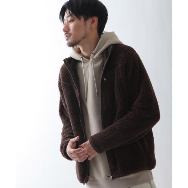 ブルゾン メンズ ボア フリース ジャケット アウター ボアジャケット スタンドネック ふわふわ もこもこ ジャンパー ファッション (181909bz) D 2bh|zip|13