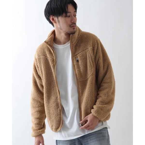ブルゾン メンズ ボア フリース ジャケット アウター ボアジャケット スタンドネック ふわふわ もこもこ ジャンパー ファッション (181909bz) D 2bh|zip|14