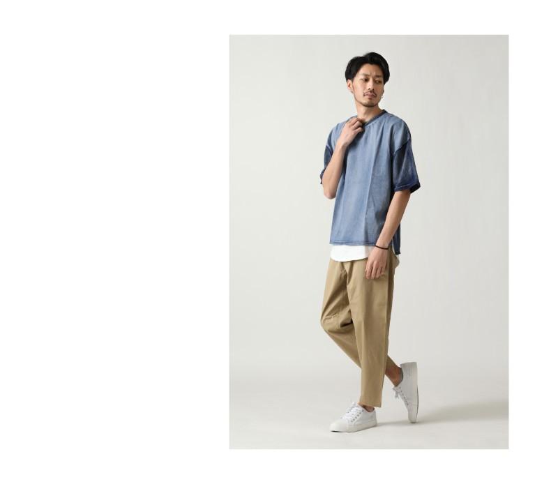 藍染拼接短袖T恤
