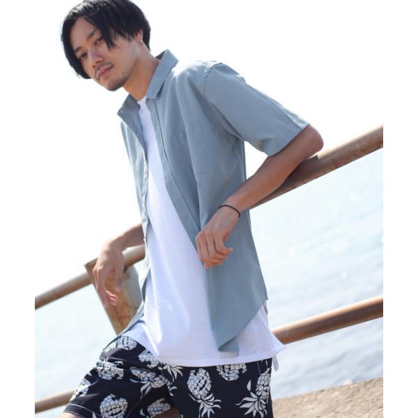 シャツ メンズ カジュアルシャツ リネンシャツ 麻 半袖シャツ 七分袖シャツ 白シャツ 綿麻 清涼 クール ファッション ポイント消化 (19006-12yz)|zip|32