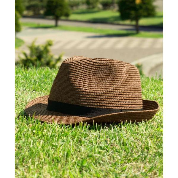 ハット メンズ ストローハット 帽子 折りたたみ可 中折れ帽 無地 家庭洗濯可 ファッション ポイント消化 (191129)|zip|13