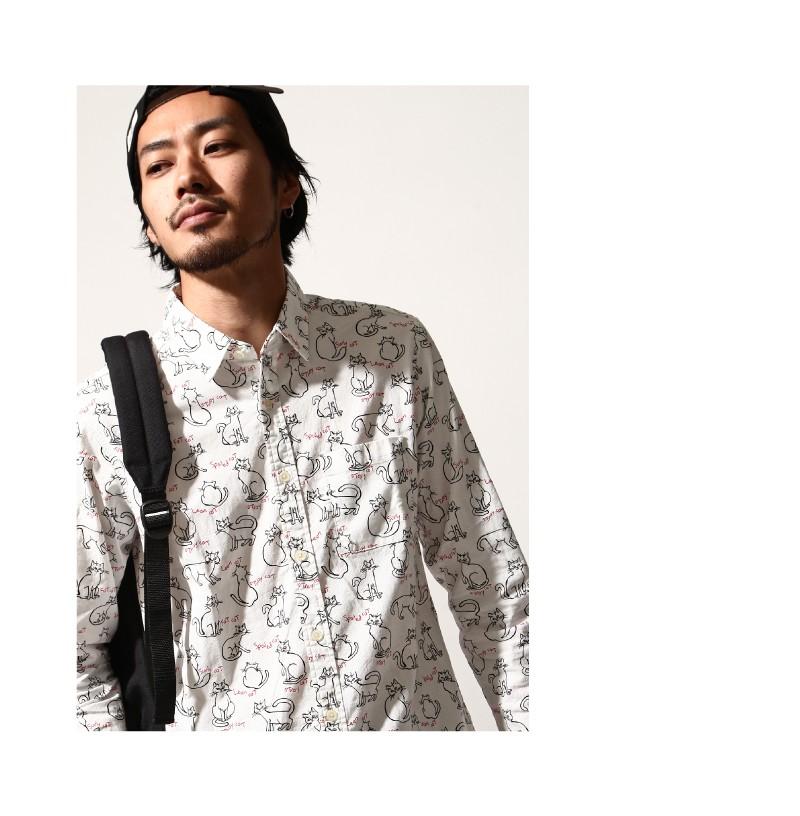 日本製貓印花襯衫