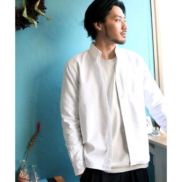ボタンダウンシャツ メンズ カジュアルシャツ 日本製 オックスフォードシャツ シャツ 白シャツ ショート丈 綿 コットンシャツ 国産 (292003) D # zip 14