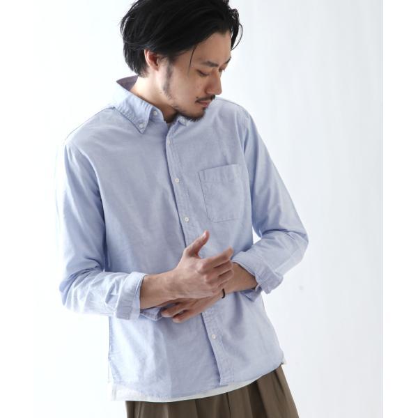 ボタンダウンシャツ メンズ カジュアルシャツ 日本製 オックスフォードシャツ シャツ 白シャツ ショート丈 綿 コットンシャツ 国産 (292003) D # zip 16