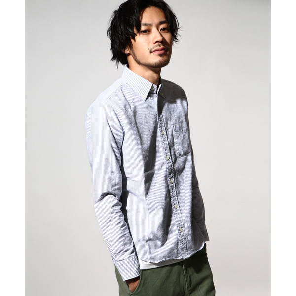 ボタンダウンシャツ メンズ カジュアルシャツ 日本製 オックスフォードシャツ シャツ 白シャツ ショート丈 綿 コットンシャツ 国産 (292003) D # zip 25