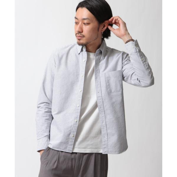 ボタンダウンシャツ メンズ カジュアルシャツ 日本製 オックスフォードシャツ シャツ 白シャツ ショート丈 綿 コットンシャツ 国産 (292003) D # zip 26