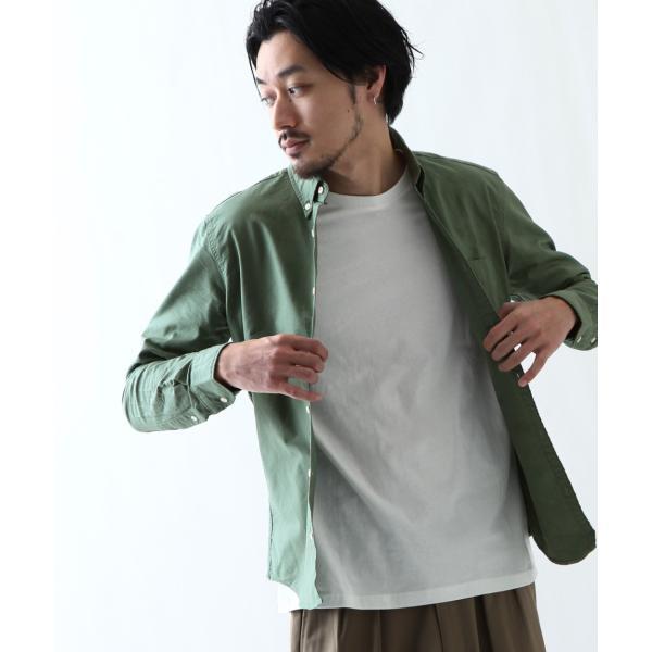 ボタンダウンシャツ メンズ カジュアルシャツ 日本製 オックスフォードシャツ シャツ 白シャツ ショート丈 綿 コットンシャツ 国産 (292003) D # zip 27