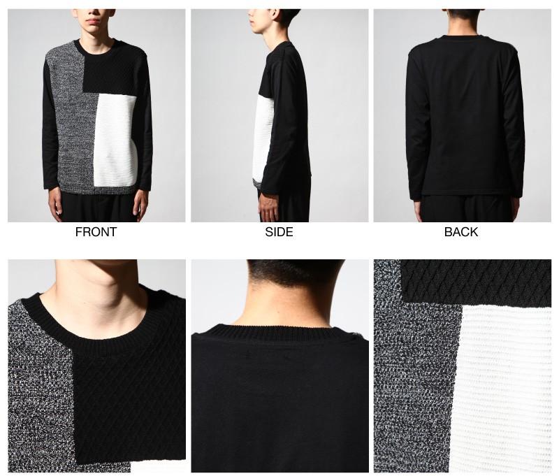 幾何色塊異材質拼接圓領長袖T恤