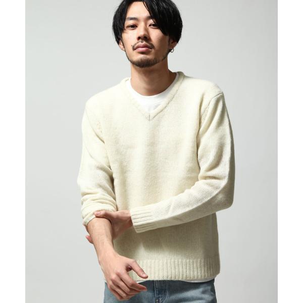 Vネックニット メンズ セーター ニット Vネック 長袖 ウール ニュージーランドウール  ファッション (56631-303-21) zip 12