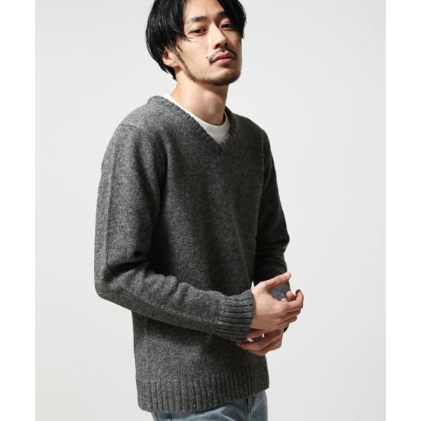 Vネックニット メンズ セーター ニット Vネック 長袖 ウール ニュージーランドウール  ファッション (56631-303-21) zip 13
