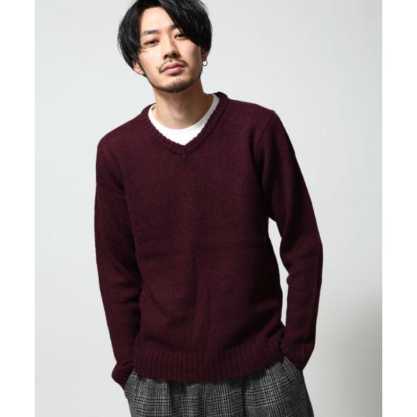 Vネックニット メンズ セーター ニット Vネック 長袖 ウール ニュージーランドウール  ファッション (56631-303-21) zip 14