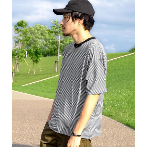 Tシャツ メンズ カットソー 半袖 クルーネック ボーダー ビッグシルエット ドロップショルダー 大きめ ファッション (661955)|zip|18