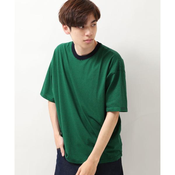 Tシャツ メンズ カットソー 半袖 クルーネック ボーダー ビッグシルエット ドロップショルダー 大きめ ファッション (661955)|zip|20