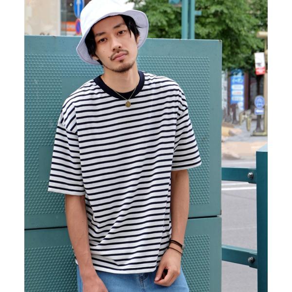 Tシャツ メンズ カットソー 半袖 クルーネック ボーダー ビッグシルエット ドロップショルダー 大きめ ファッション (661955)|zip|21