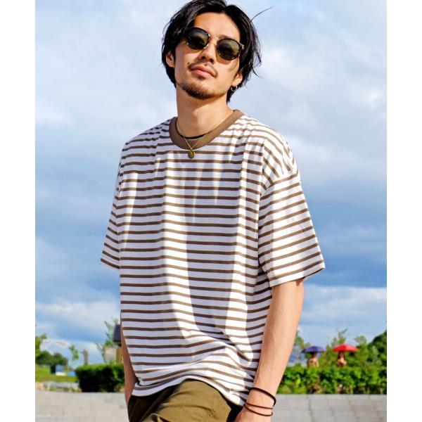Tシャツ メンズ カットソー 半袖 クルーネック ボーダー ビッグシルエット ドロップショルダー 大きめ ファッション (661955)|zip|22