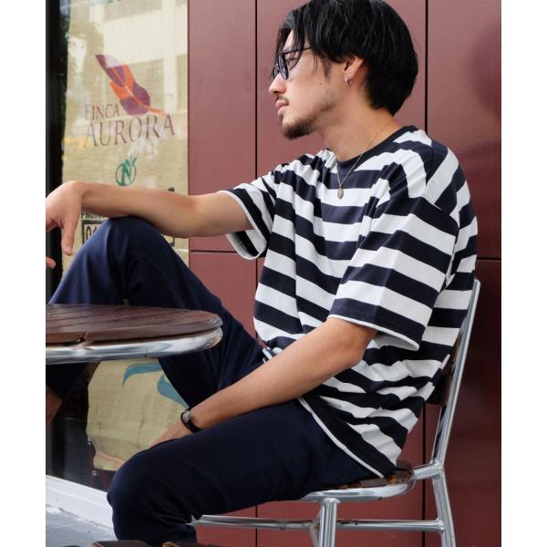 Tシャツ メンズ カットソー 半袖 クルーネック ボーダー ビッグシルエット ドロップショルダー 大きめ ファッション (661955)|zip|24