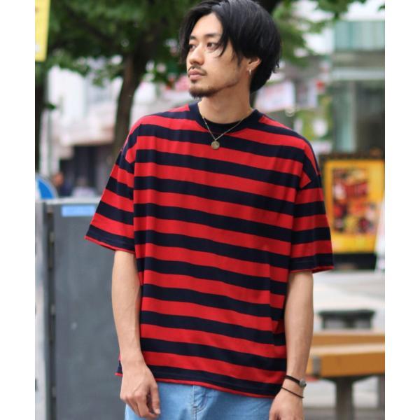 Tシャツ メンズ カットソー 半袖 クルーネック ボーダー ビッグシルエット ドロップショルダー 大きめ ファッション (661955)|zip|25