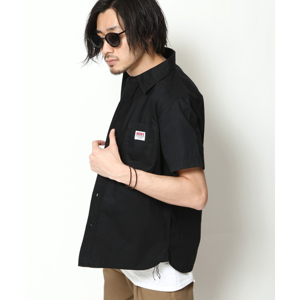 ワークシャツ メンズ シャツ カジュアルシャツ 半袖 無地 ストライプ 別注 ワンポイントBEN DAVIS ベンデイビス ファッション (9580048)|zip|17