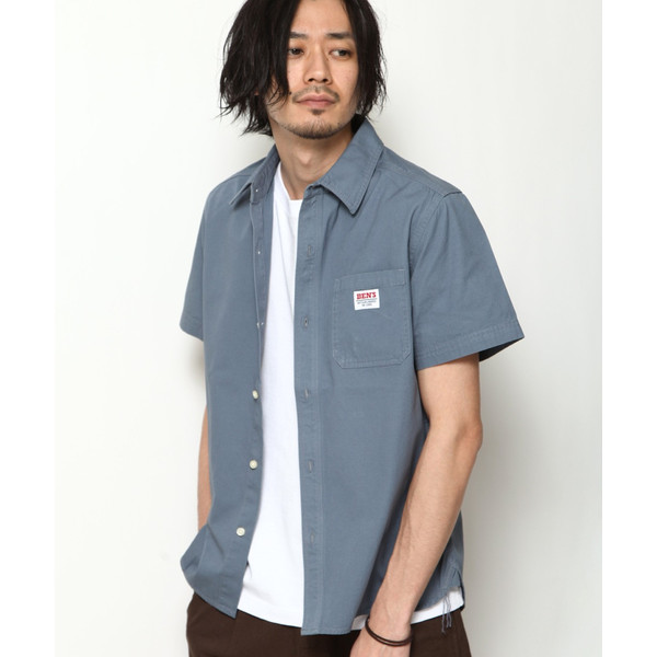ワークシャツ メンズ シャツ カジュアルシャツ 半袖 無地 ストライプ 別注 ワンポイントBEN DAVIS ベンデイビス ファッション (9580048)|zip|21
