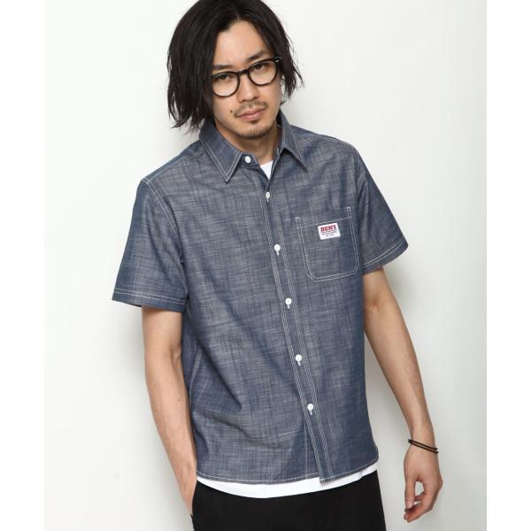 ワークシャツ メンズ シャツ カジュアルシャツ 半袖 無地 ストライプ 別注 ワンポイントBEN DAVIS ベンデイビス ファッション (9580048)|zip|22