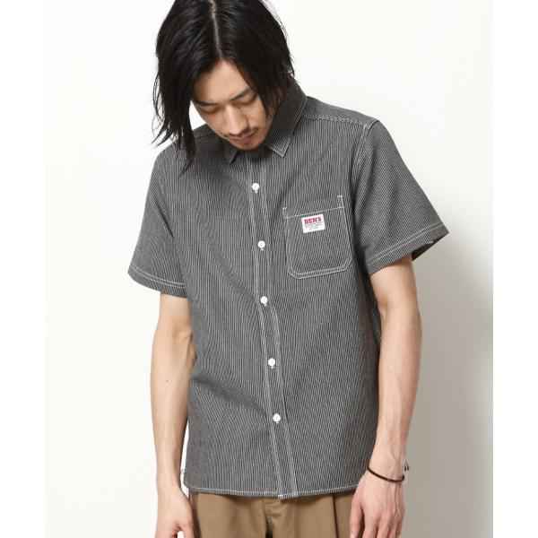 ワークシャツ メンズ シャツ カジュアルシャツ 半袖 無地 ストライプ 別注 ワンポイントBEN DAVIS ベンデイビス ファッション (9580048)|zip|23