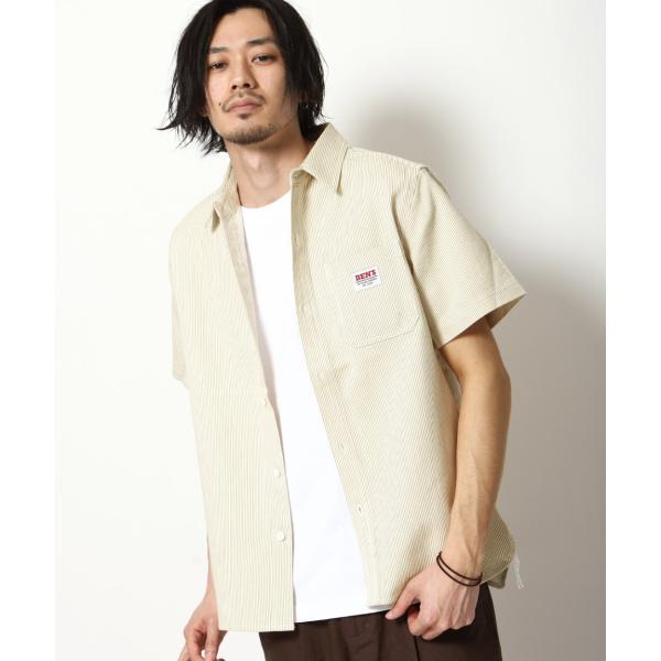 ワークシャツ メンズ シャツ カジュアルシャツ 半袖 無地 ストライプ 別注 ワンポイントBEN DAVIS ベンデイビス ファッション (9580048)|zip|24