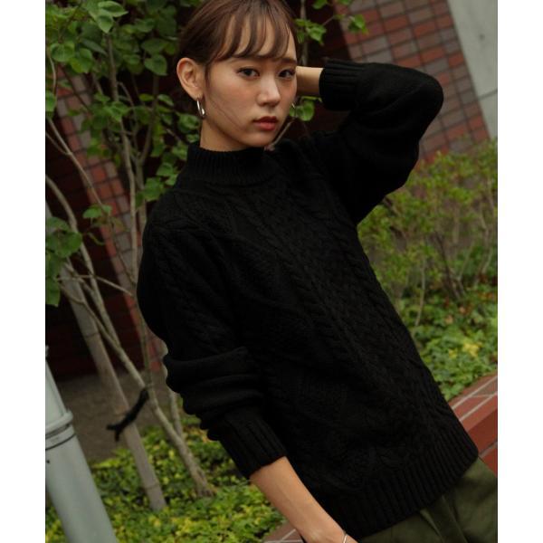 セーター メンズ ニット ケーブルニット モックネック ハイネック 長袖 無地 ユニセックス ファッション (blz-1902) 2bh|zip|20
