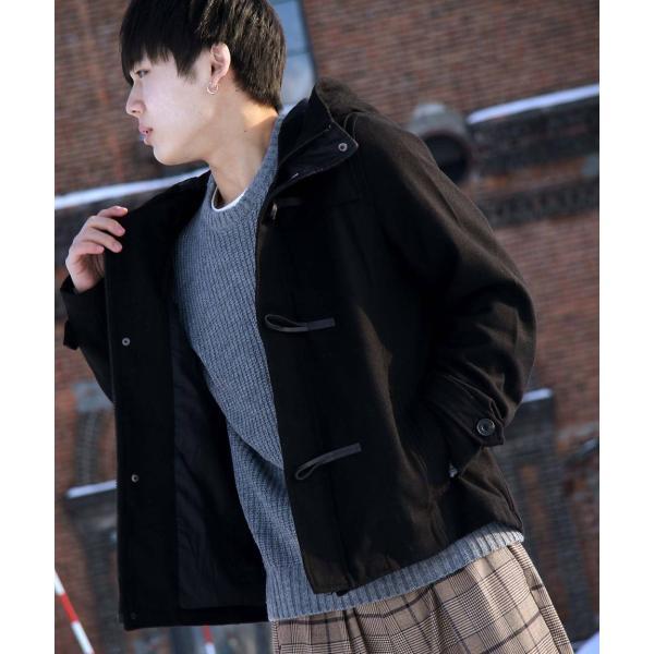 コート メンズ ピーコート ダッフルコート シングル メルトン Pコート ショート丈 ウールコート 学生 無地 グレンチェック ファッション (br1000) D|zip|32