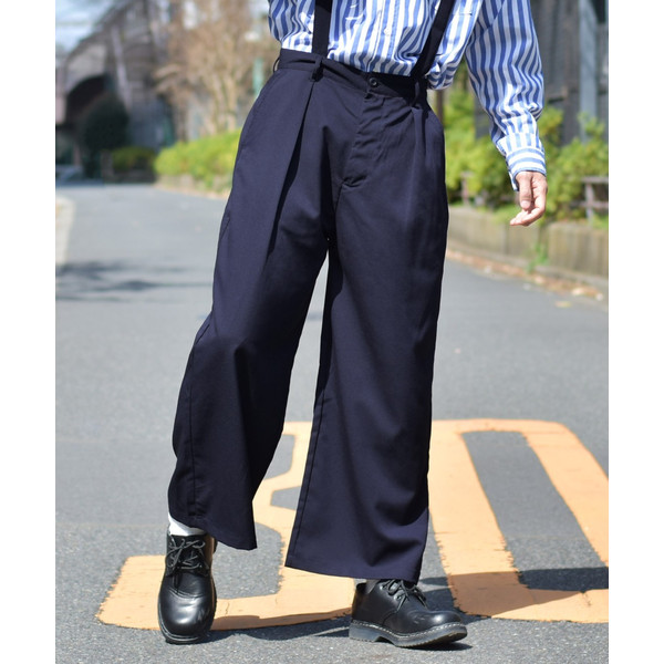 ガウチョパンツ メンズ ワイドパンツ ボトムス アンクル丈 ズボン サスペンダー ビッグシルエット スーツ地 ファッション ポイント消化 (br1006) zip 23