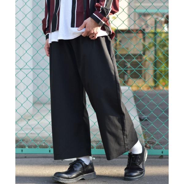 ガウチョパンツ メンズ ワイドパンツ ボトムス アンクル丈 ズボン サスペンダー ビッグシルエット スーツ地 ファッション ポイント消化 (br1006) zip 24