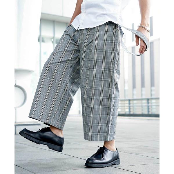 ワイドパンツ メンズ ボトムス ガウチョパンツ ズボン サスペンダー スラックス ビッグシルエット ゆったり ファッション 2019 新作 (br9011) D|zip|22