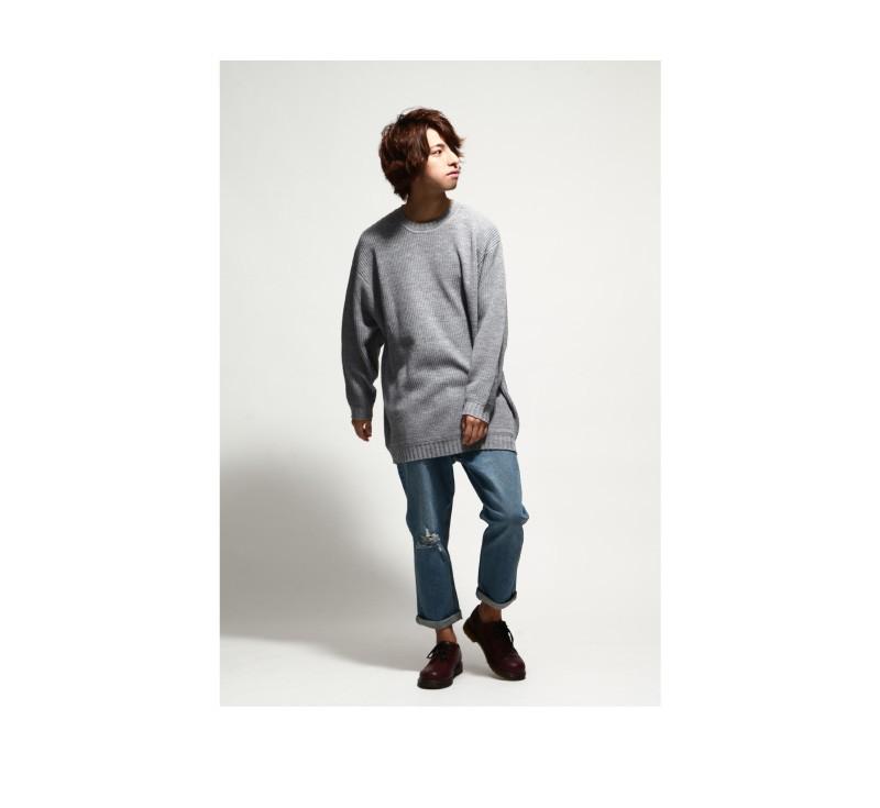 寬版素面毛衣針織衫