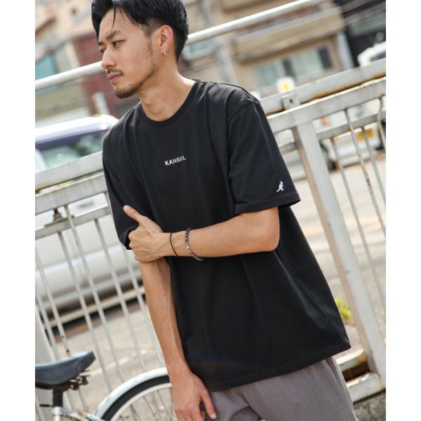 Tシャツ メンズ KANGOL ブランド カットソー シンプル 半袖 クルーネック コットン 刺繍 ロゴ 袖ワッペン カンゴール ファッション (kgsa-zi1908) D|zip|24