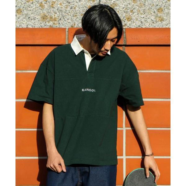 ラガーシャツ メンズ シャツ カジュアルシャツ 半袖 ポロシャツ スポーツ スポーティ ロゴ 刺繍 ビッグシルエット KANGOL ファッション (kgsa-zi1912) D|zip|14